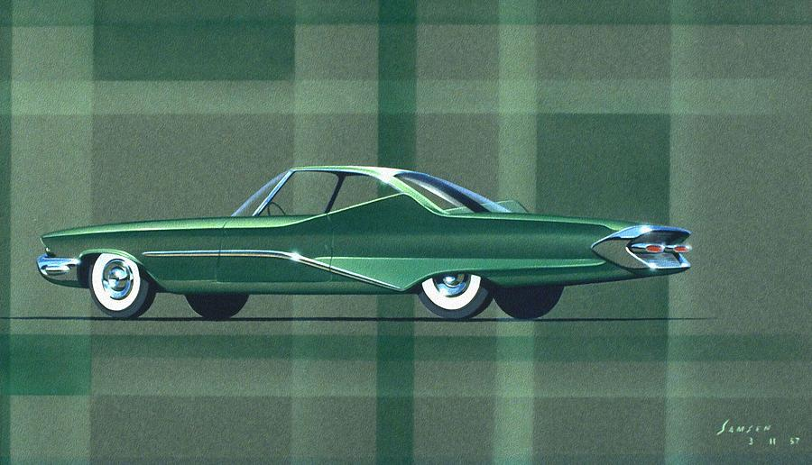 Car Concept Art Painting - 1960 Desoto  Vintage Styling Design Concept Rendering Sketch by John Samsen