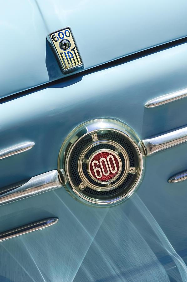 Emblem Photograph - 1960 Fiat 600 Jolly Emblem by Jill Reger