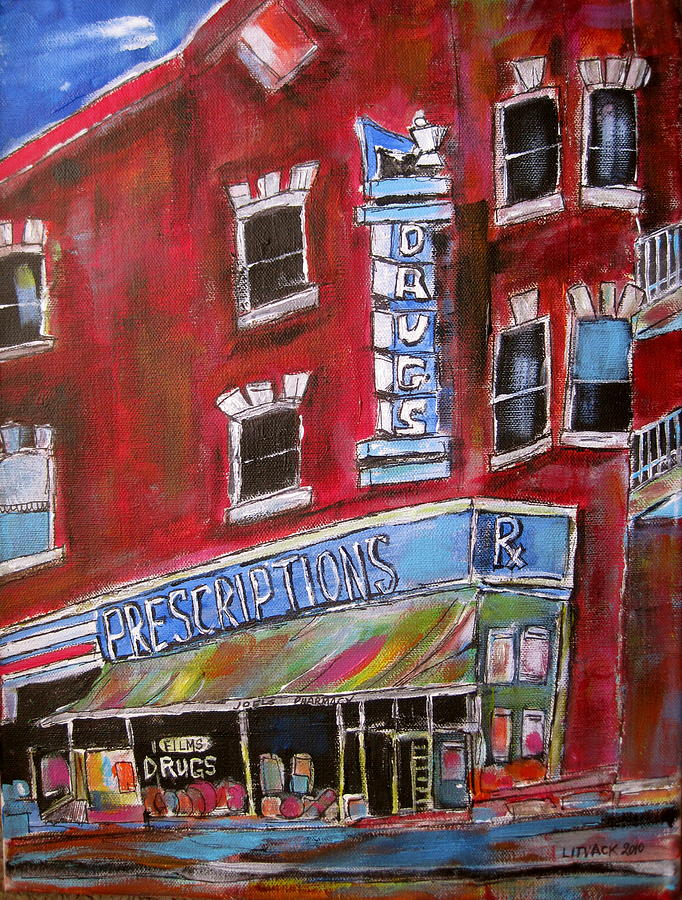 Montreal Painting - 1960 Pharmacy St. Viateur by Michael Litvack