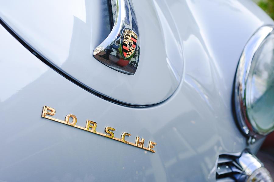 Porsche Logos Photograph - 1960 Porsche 356 B 1600 Super Roadster Hood Emblem by Jill Reger