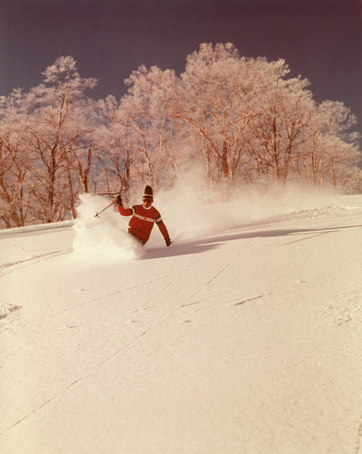 Vertical Photograph - 1960s 1970s Man Skier Shushing by Vintage Images