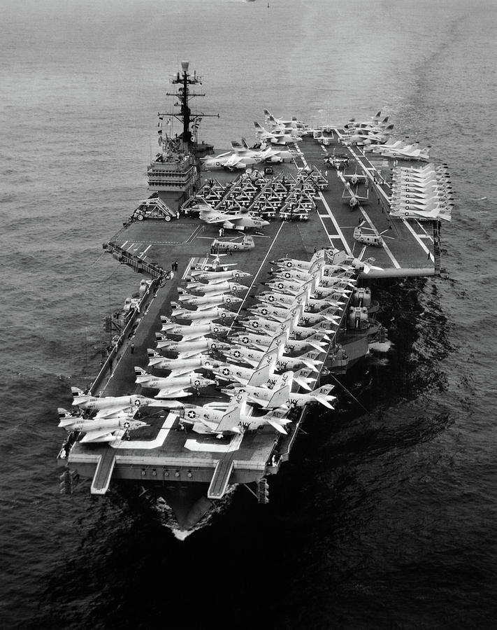 Vertical Photograph - 1960s Aerial Of Uss Saratoga Aircraft by Vintage Images