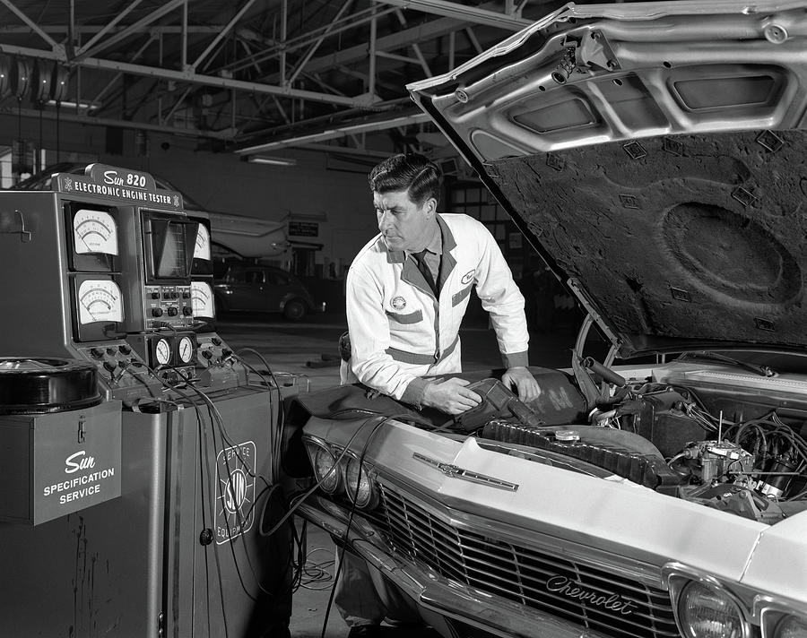 1960s Automobile Mechanic Testing by Vintage Images