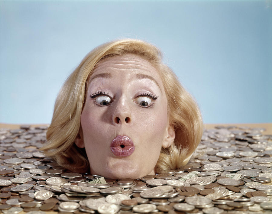 Horizontal Photograph - 1960s Blond Woman Funny Facial by Vintage Images