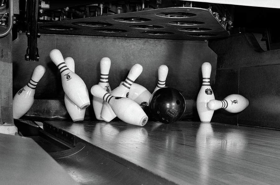 Horizontal Photograph - 1960s Close-up Of Bowling Ball Hitting by Vintage Images