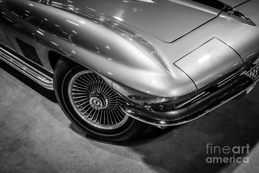 1963 Photograph - 1960s Corvette C2 In Black And White by Paul Velgos