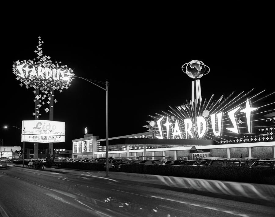 Horizontal Photograph - 1960s Night Scene Of The Stardust by Vintage Images