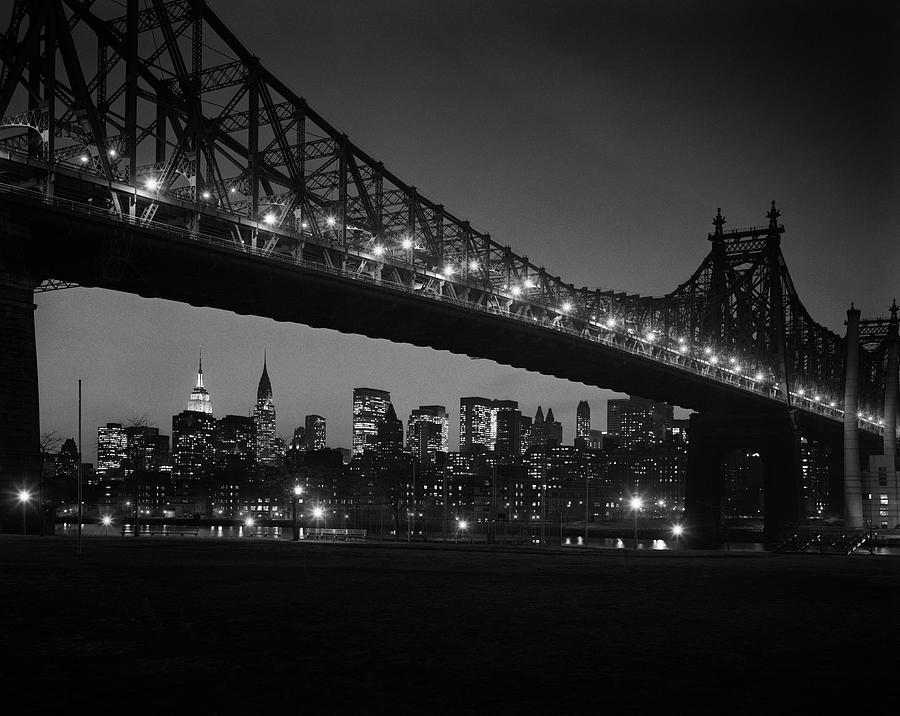 Horizontal Photograph - 1960s Queensboro Bridge And Manhattan by Vintage Images