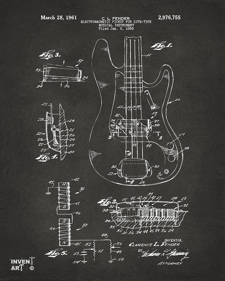 Guitar Digital Art - 1961 Fender Guitar Patent Artwork - Gray by Nikki Marie Smith