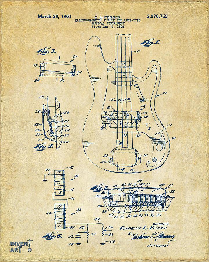 Guitar Digital Art - 1961 Fender Guitar Patent Artwork - Vintage by Nikki Marie Smith