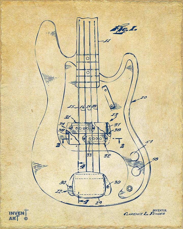 Guitar Digital Art - 1961 Fender Guitar Patent Minimal - Vintage by Nikki Marie Smith