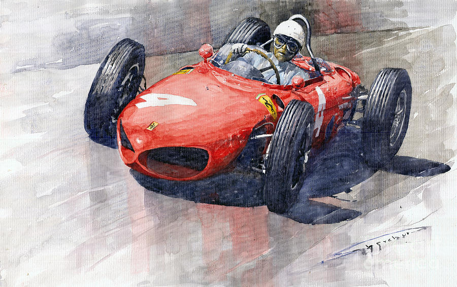 Watercolor Painting - 1961 Germany Gp Ferrari 156 Phil Hill by Yuriy Shevchuk