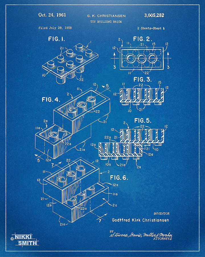 Toy Drawing - 1961 Toy Building Brick Patent Artwork - Blueprint by Nikki Marie Smith