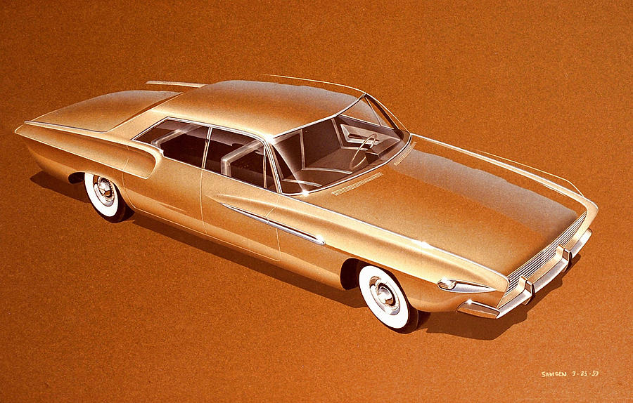 Car Concepts Drawing - 1962 Desoto  Vintage Styling Design Concept Rendering Sketch by John Samsen