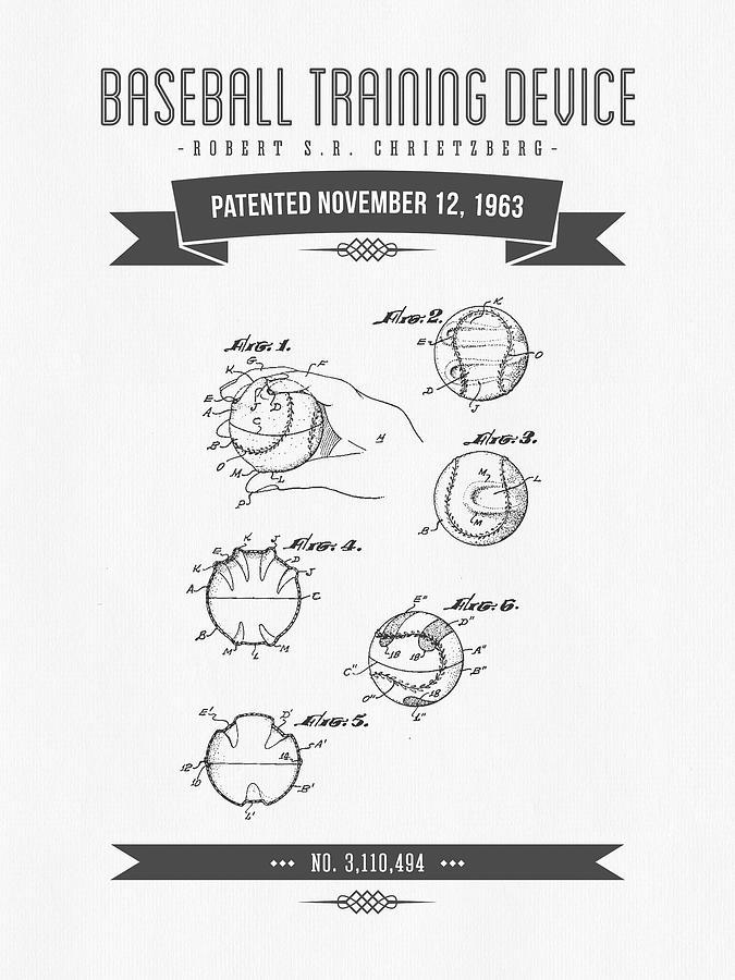 1963 Baseball Training Device Patent Drawing Digital Art
