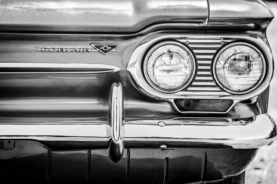 1963 Corvair Photograph - 1963 Chevrolet Corvair Monza Spyder Headlight Emblem -0594bw by Jill Reger