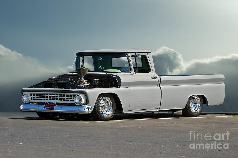 Auto Photograph - 1963 Chevy low Rider Pick-up Truck by Dave Koontz