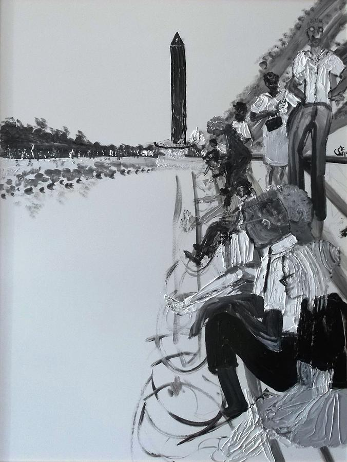 Black And White Painting - 1963 D.c. Monument And Reflecting Pond by Leslie Byrne