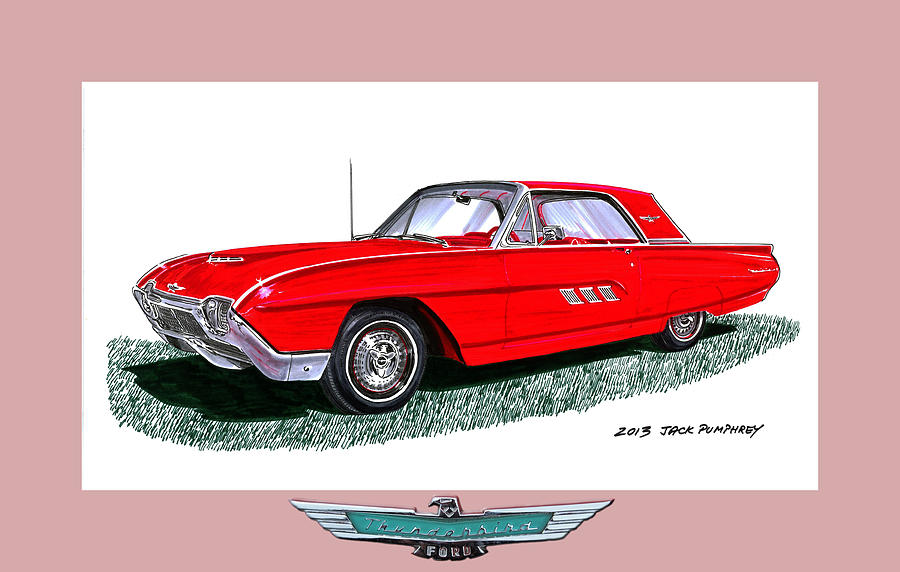 In Europe Painting - 1963 Ford Thunderbird by Jack Pumphrey
