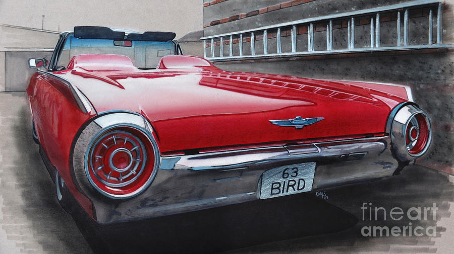 T Bird Drawing - 1963 Ford Thunderbird by Paul Kuras
