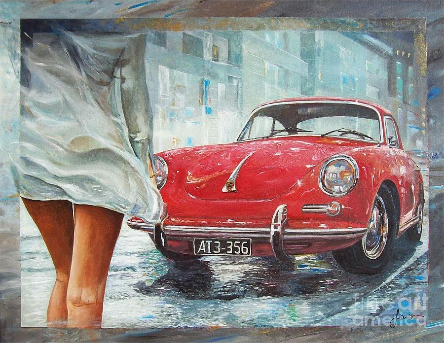 1963 Porsche 356 C Painting by Sinisa Saratlic