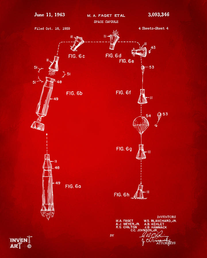 Space Capsule Digital Art - 1963 Space Capsule Patent Red by Nikki Marie Smith