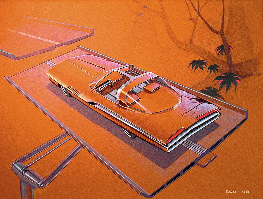Classic Car Designs Drawing - 1963 Turbine Show Car  Plymouth Concept Car Vintage Styling Design Concept Rendering Sketch by John Samsen