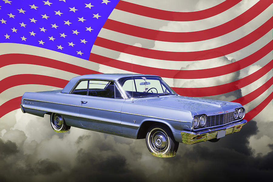 1964 Chevrolet Impala Muscle Car And American Flag