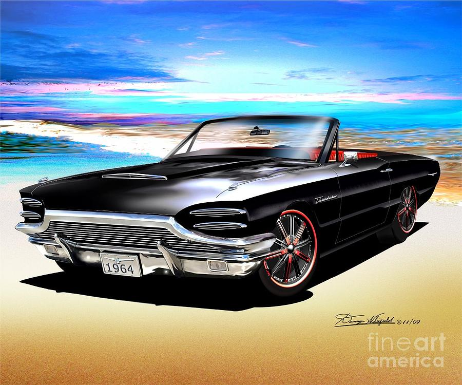 1964 Custom Thunderbird Drawing by Danny Whitfield