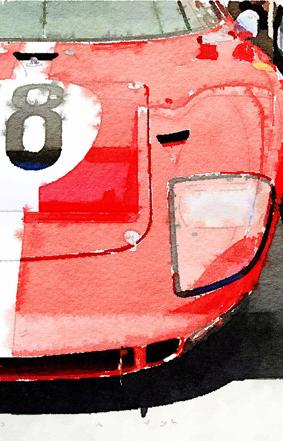 Ford Gt40 Painting - 1964 Ford GT40 Front Detail Watercolor by Naxart Studio