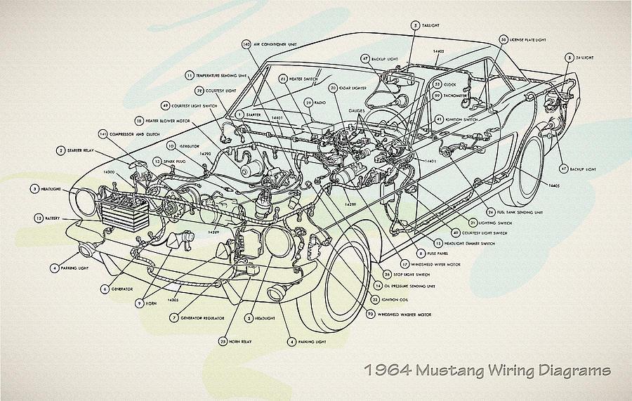 1964 Mustang Wiring Diagrams Digital Art by Don Kuing