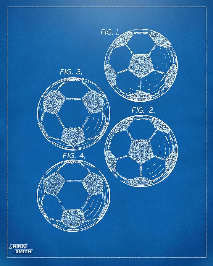 Soccer Digital Art - 1964 Soccerball Patent Artwork - Blueprint by Nikki Marie Smith