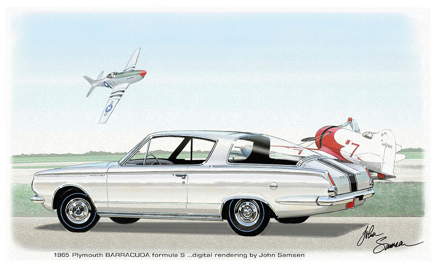 1965 Barracuda Classic Plymouth Muscle Car Painting by John Samsen