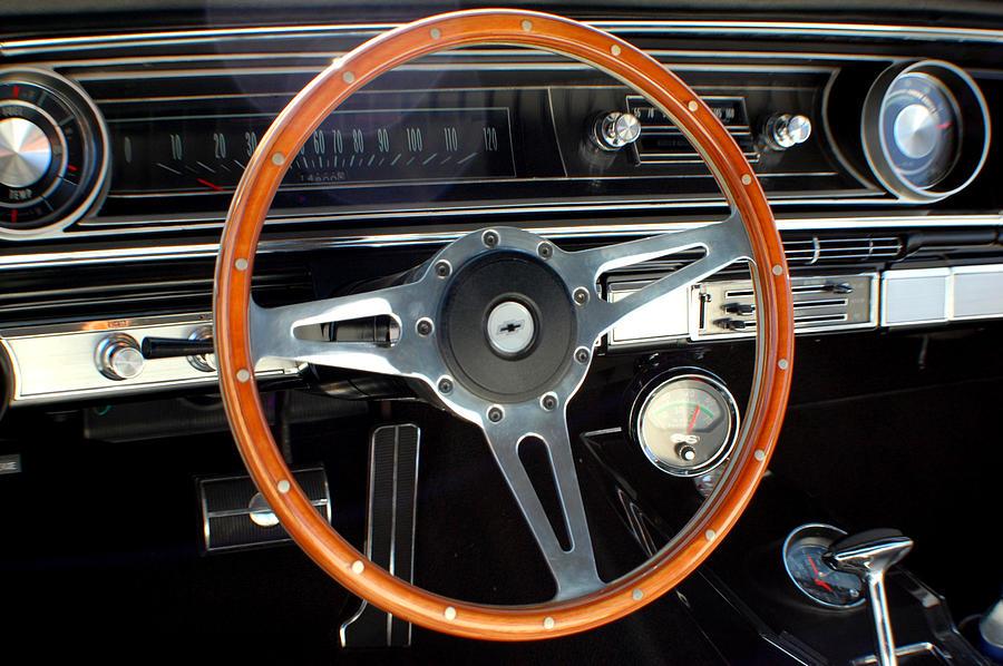 Classic Cars Photograph - 1965 Chevrolet Impala Ss Steering Wheel by DJ Monteleone