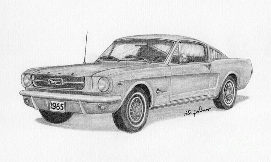 1965 ford mustang drawing by rita palmer. Black Bedroom Furniture Sets. Home Design Ideas