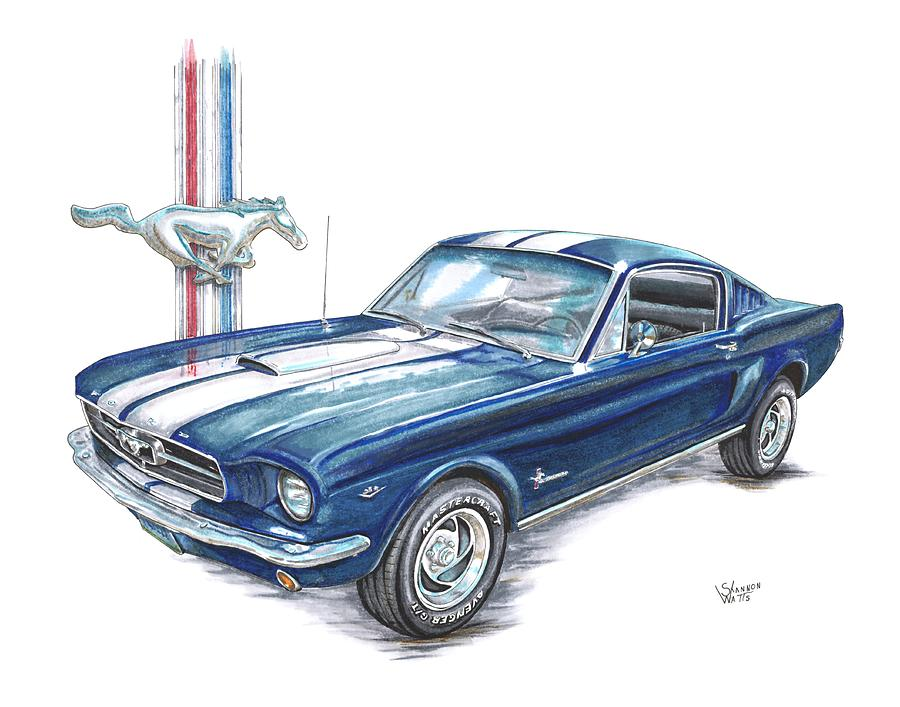 1965 Ford Mustang Drawing By Shannon Watts