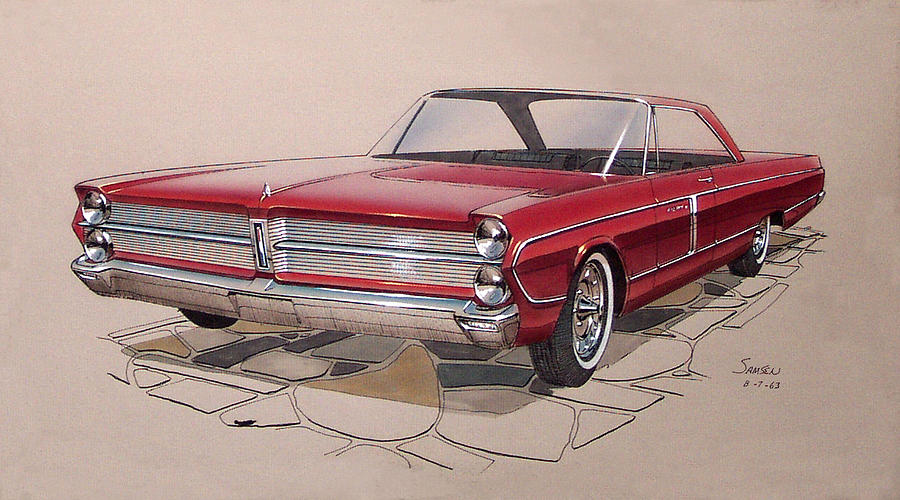 Car Concepts Drawing - 1965 Plymouth Fury  Vintage Styling Design Concept Rendering Sketch by John Samsen