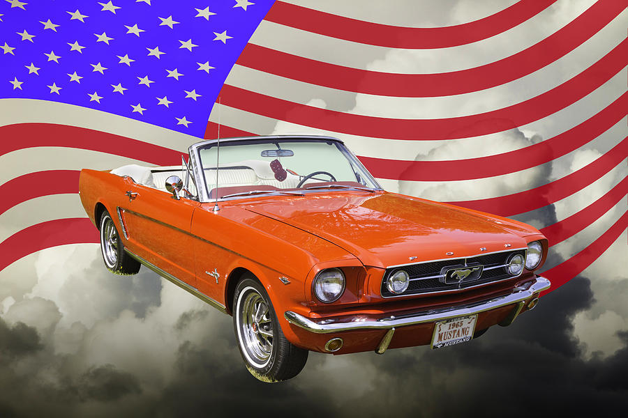 8851ccdc 1965 Ford Mustang Photograph - 1965 Red Ford Mustang Convertible And  American Flag Photo by Keith