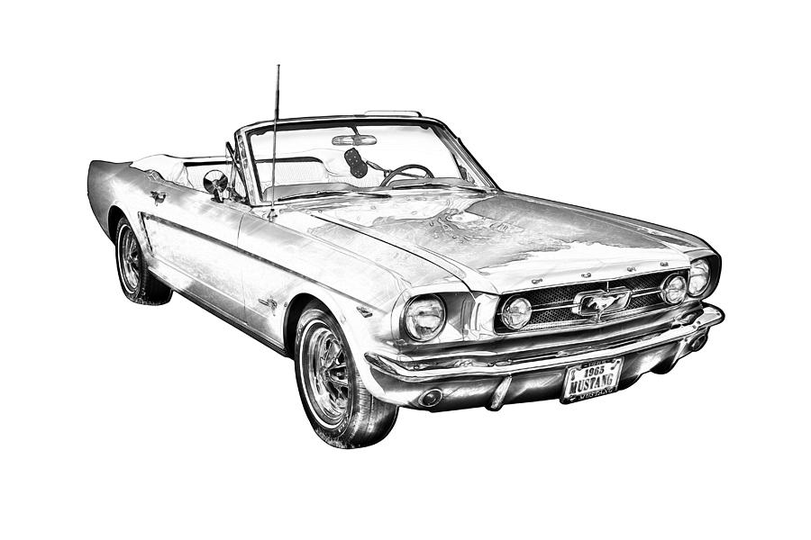 1965 red ford mustang convertible drawing photograph by