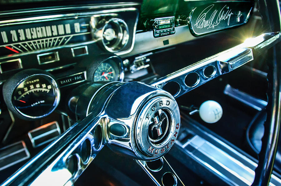 Shelby Photograph - 1965 Shelby Prototype Ford Mustang Steering Wheel Emblem 2 by Jill Reger