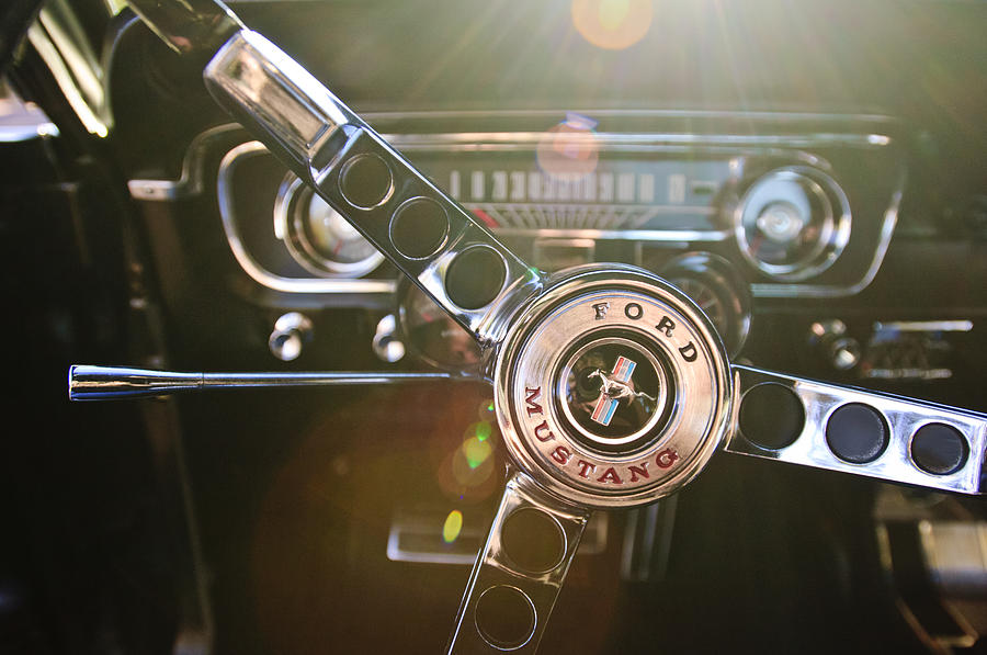 Steering Wheel Photograph - 1965 Shelby Prototype Ford Mustang Steering Wheel Emblem by Jill Reger