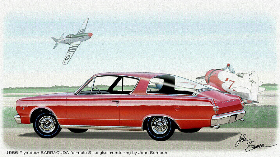 1966 Barracuda Classic Plymouth Muscle Car Sketch Rendering Painting