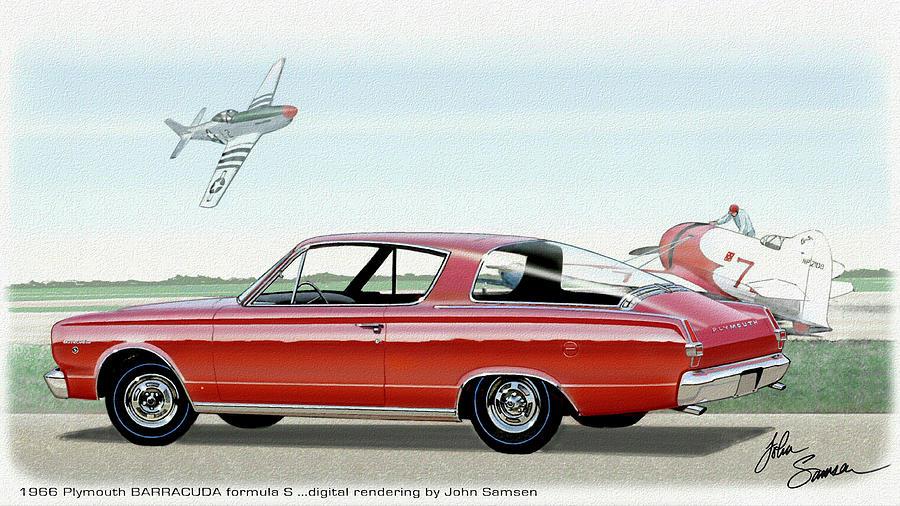 1966 Barracuda Painting - 1966 BARRACUDA  classic Plymouth muscle car sketch rendering by John Samsen