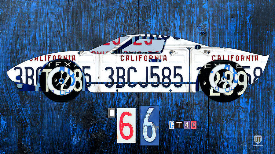 Ford Mixed Media - 1966 Ford Gt40 License Plate Art By Design Turnpike by Design Turnpike