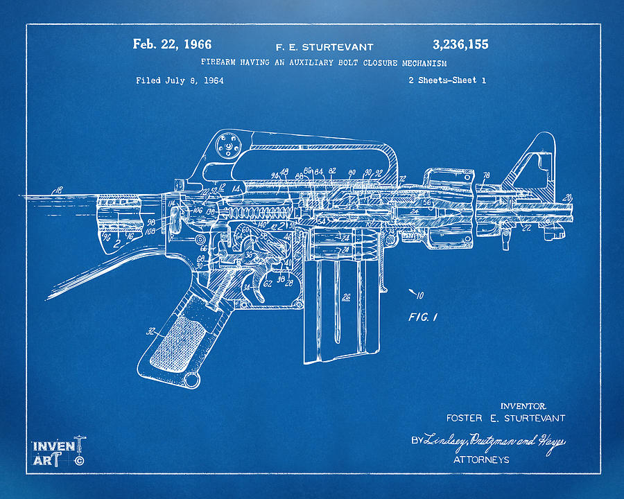1966 m 16 gun patent blueprint digital art by nikki marie smith m 16 digital art 1966 m 16 gun patent blueprint by nikki marie malvernweather