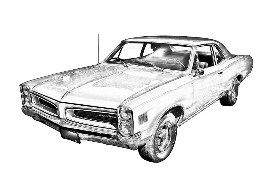 1966 pointiac lemans car illustration photograph by keith