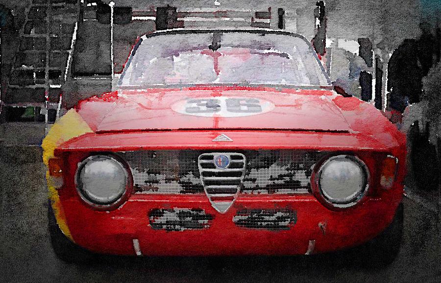 Alfa Romeo Gtv Painting - 1967 Alfa Romeo GTV Watercolor by Naxart Studio