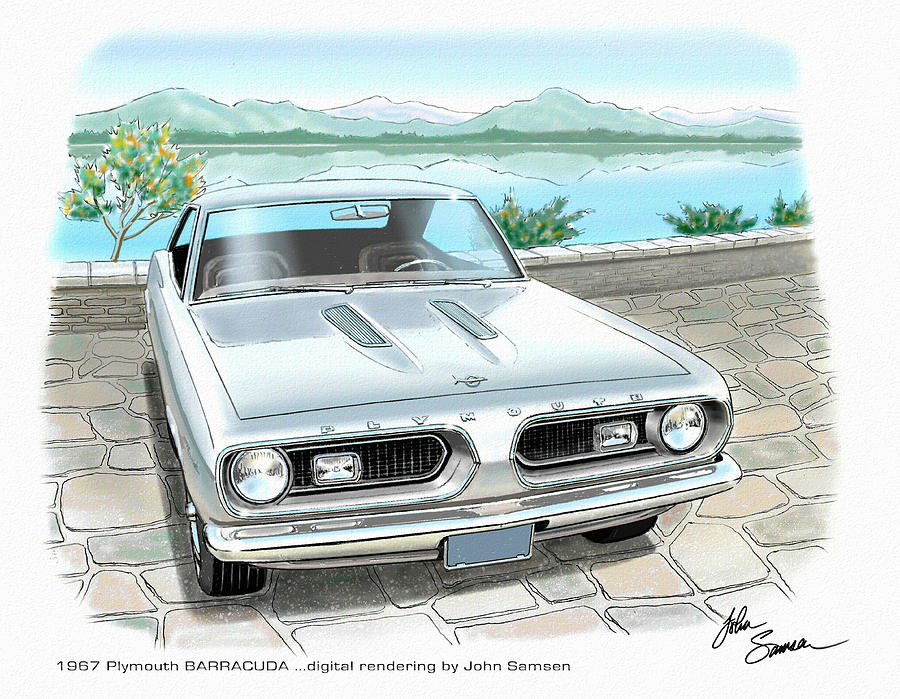 1967 Plymouth Painting - 1967 Barracuda  Classic Plymouth Muscle Car Sketch Rendering by John Samsen