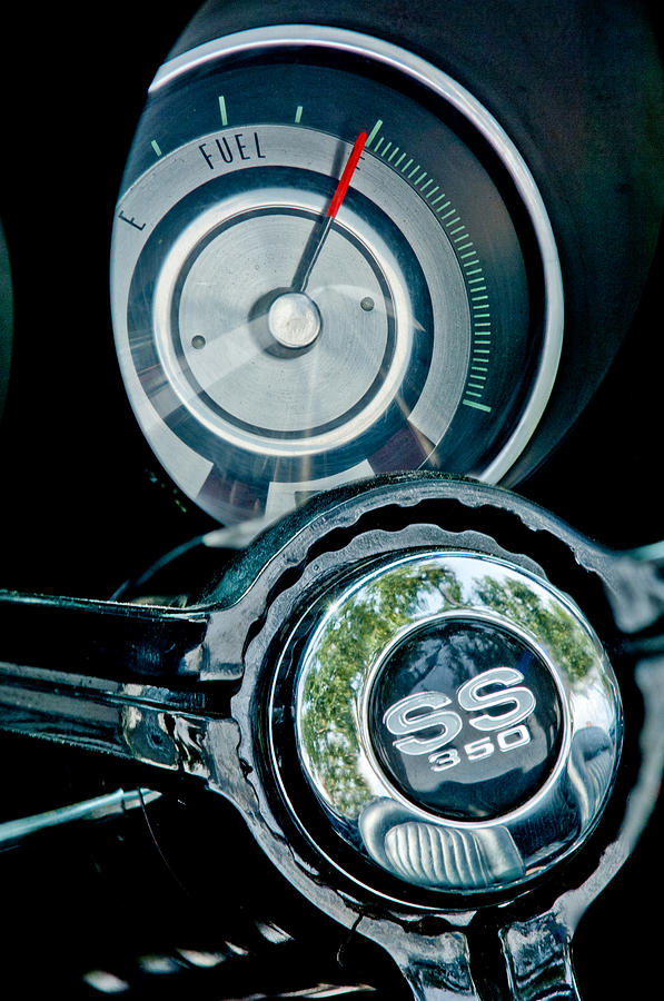 Muscle Car Photograph - 1967 Chevrolet Camaro  Ss Steering Wheel Emblem Emblem by Jill Reger
