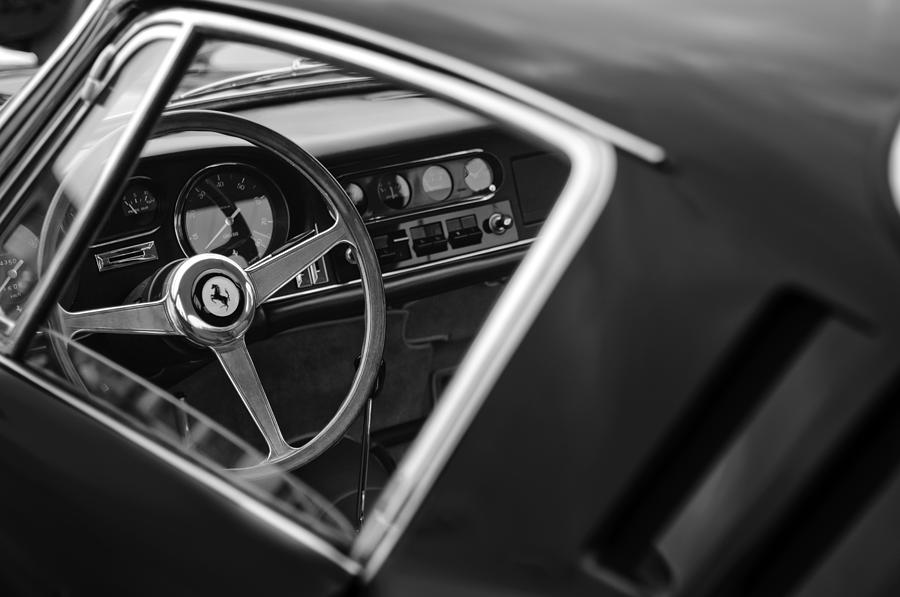 Black And White Photograph - 1967 Ferrari 275 Gtb-4 Berlinetta Steering Wheel by Jill Reger